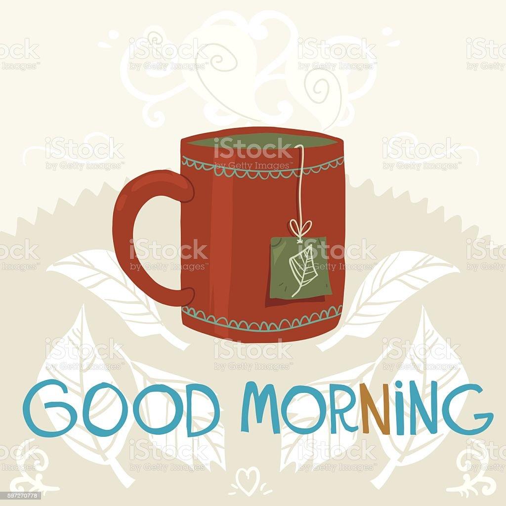 Cartoon cup of tea flat icon. vector art illustration
