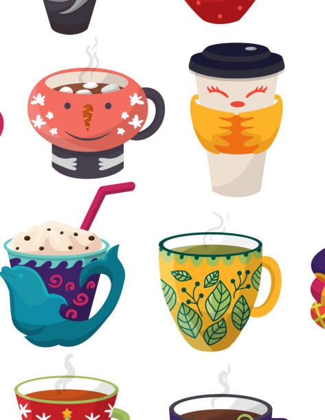 ilustrações de stock, clip art, desenhos animados e ícones de cartoon cup vector kids creative mugs coffee or tea cupful on br - pausa para café