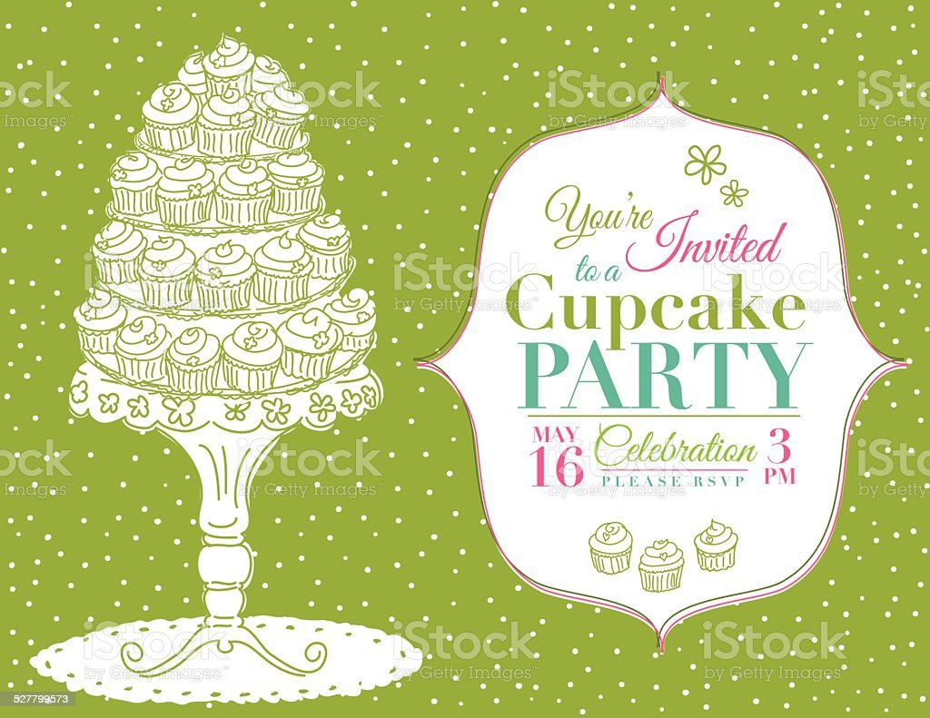 Cartoon Cupcake Party Invitation Template Green Stock Vector Art ...