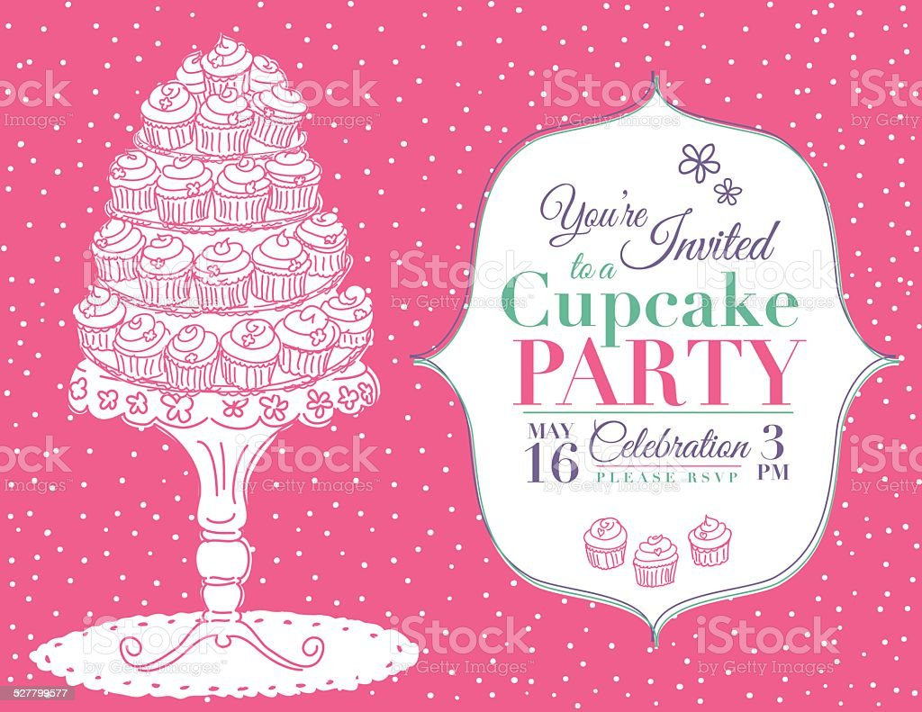 Cartoon Cupcake Party Invitation Template Pink Stock Vector Art ...