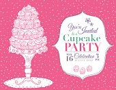 Cartoon line art style tower of Cupcakes Party Invitation horizontal Template on Pink with white polka dotted background. There is a decorative platter with a five layer tower stack of cupcakes on the left and the invitation on the right in a white frame.