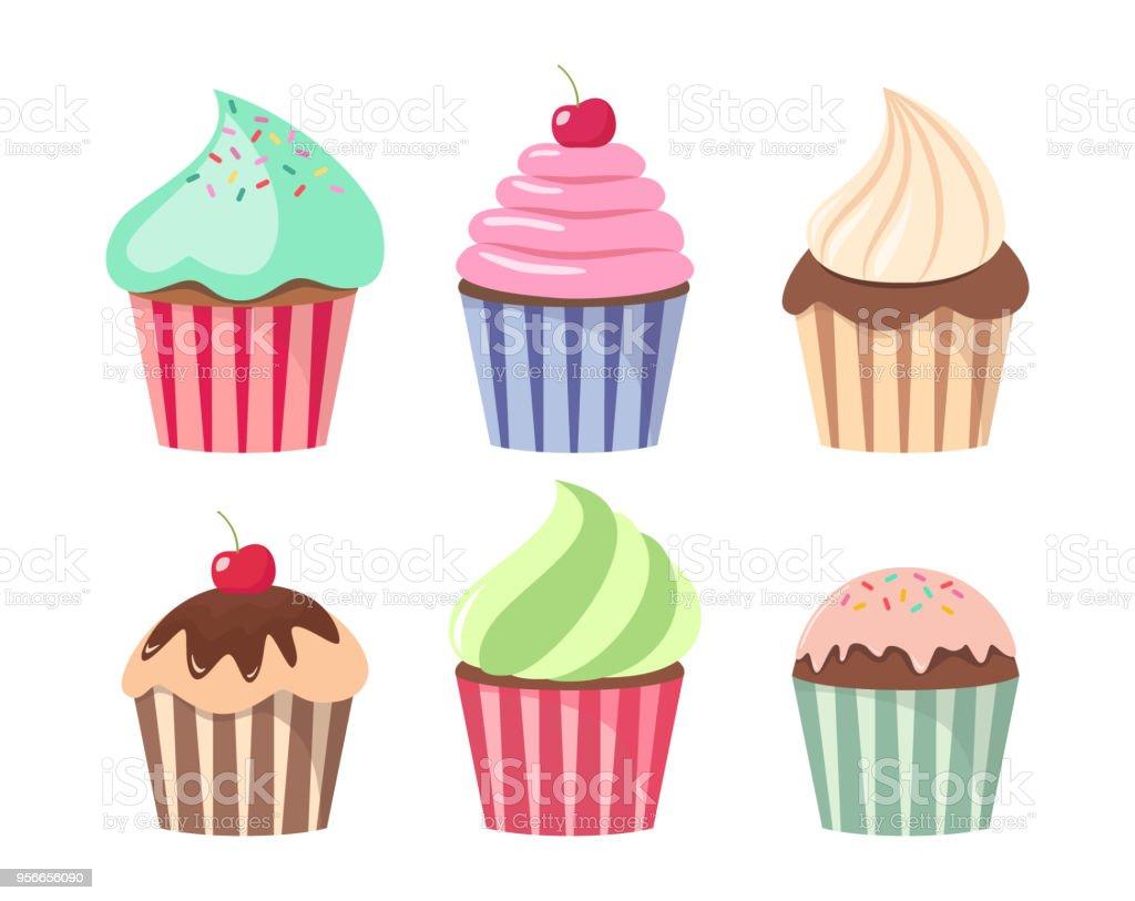 Cartoon Cupcake Set Colorful Cupcakes Cartoons Stock ...