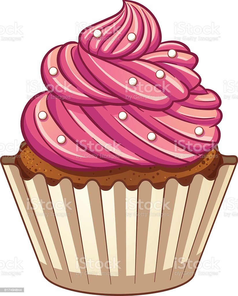 Cartoon cupcake vector art illustration