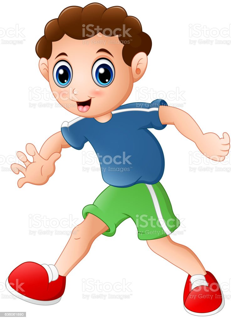 Cartoon curly young boy posing on a white background vector art illustration