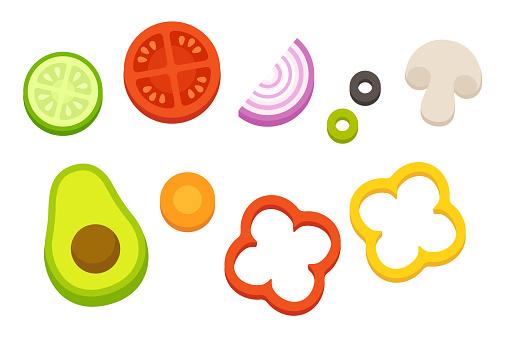 Cartoon cut vegetables