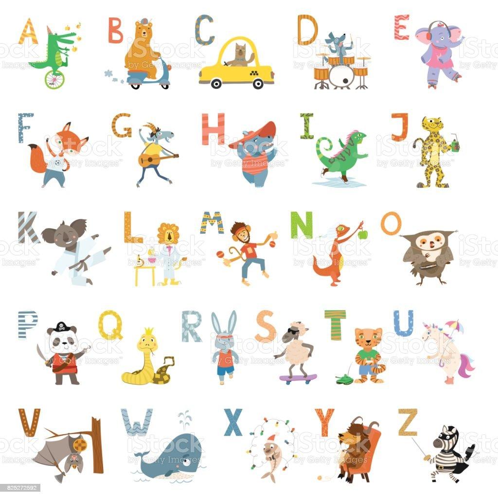 子供の学校、幼児教育のアルファベットのかわいい動物漫画。 ベクターアートイラスト