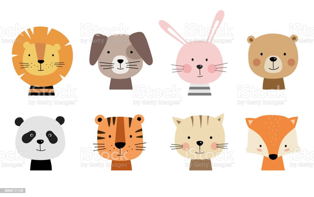 Cartoon cute animals for baby cards.