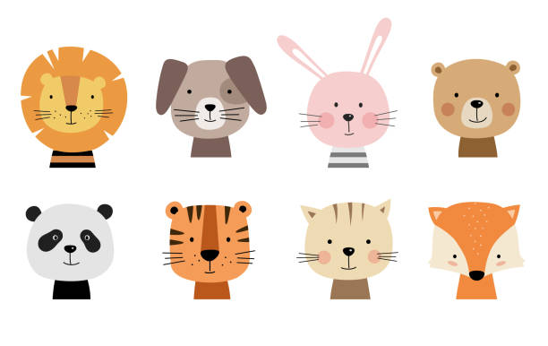 cartoon cute animals for baby cards. - animals stock illustrations