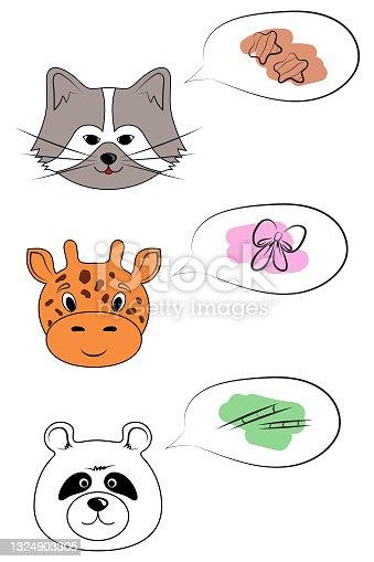 istock cartoon cute animals raccoon, giraffe, panda 1324903305