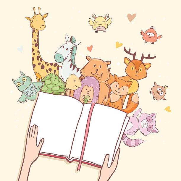 Cartoon cute animals vector art illustration
