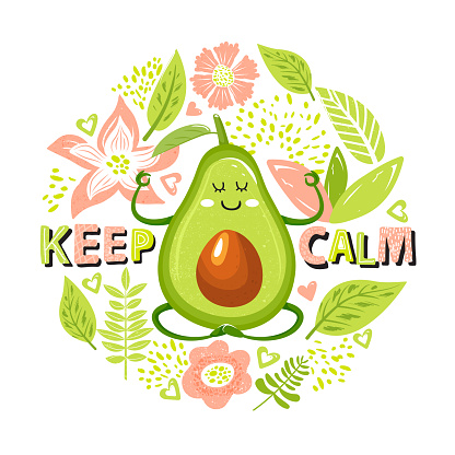 Cartoon cute avocado character in yoga pose. Set of green avocado fruit, flowers, leaves and trendy lettering.
