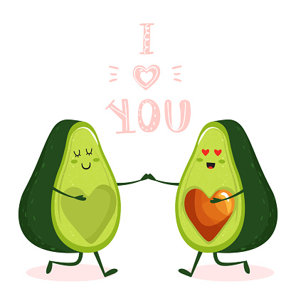 Cartoon cute avocado couple character with heart and trendy lettering.