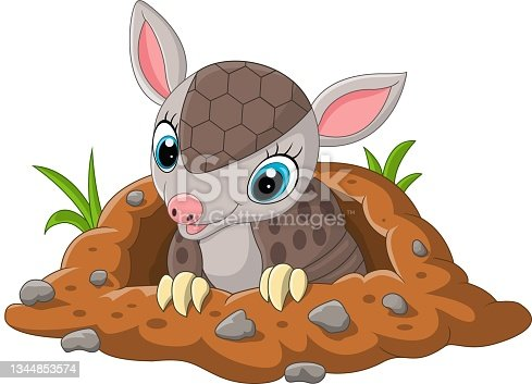 istock Cartoon cute baby armadillo out of a hole 1344853574