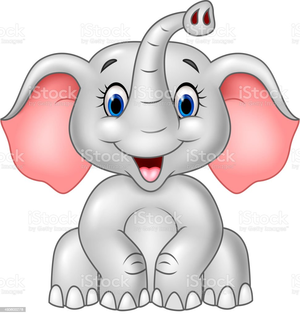 cartoon cute baby elephant isolated on white background stock vector art more images of 2015. Black Bedroom Furniture Sets. Home Design Ideas