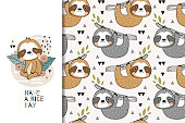 Cartoon cute baby sloth. Kids greeting card and seamless pattern set. Hand drawn tee print and textile design illustration. Jungle animal character.