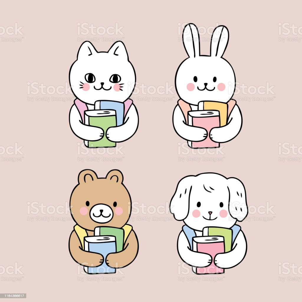 Cartoon cute back to school animals and book vector.