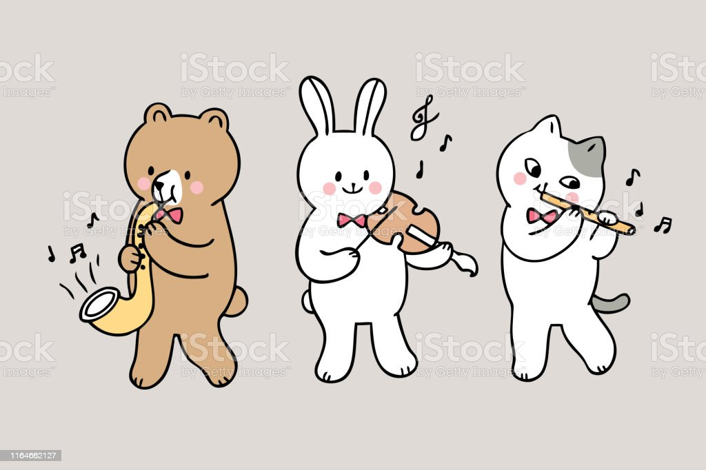 Cartoon cute back to school animals playing music in class vector.