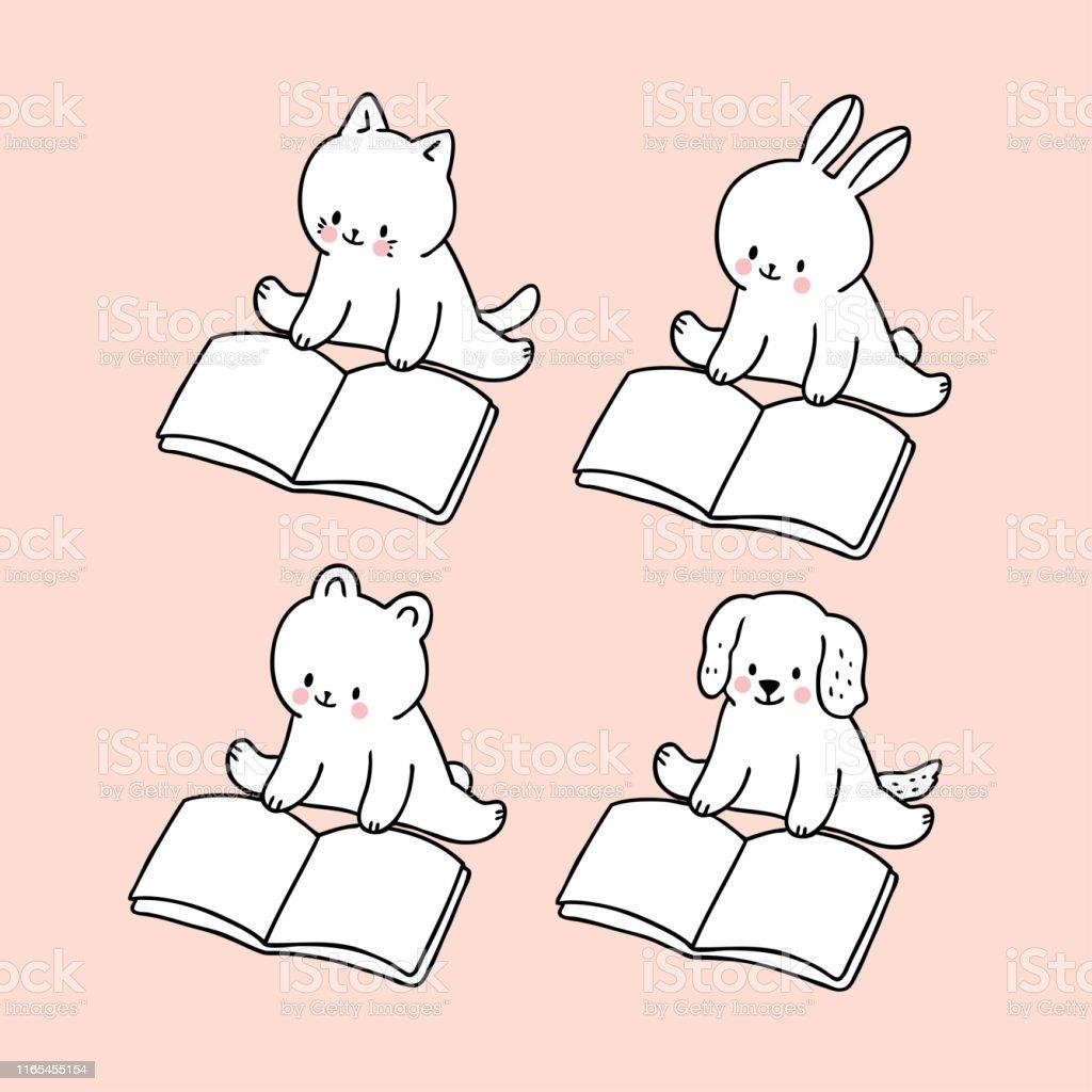 Cartoon cute back to school animals reading book vector.