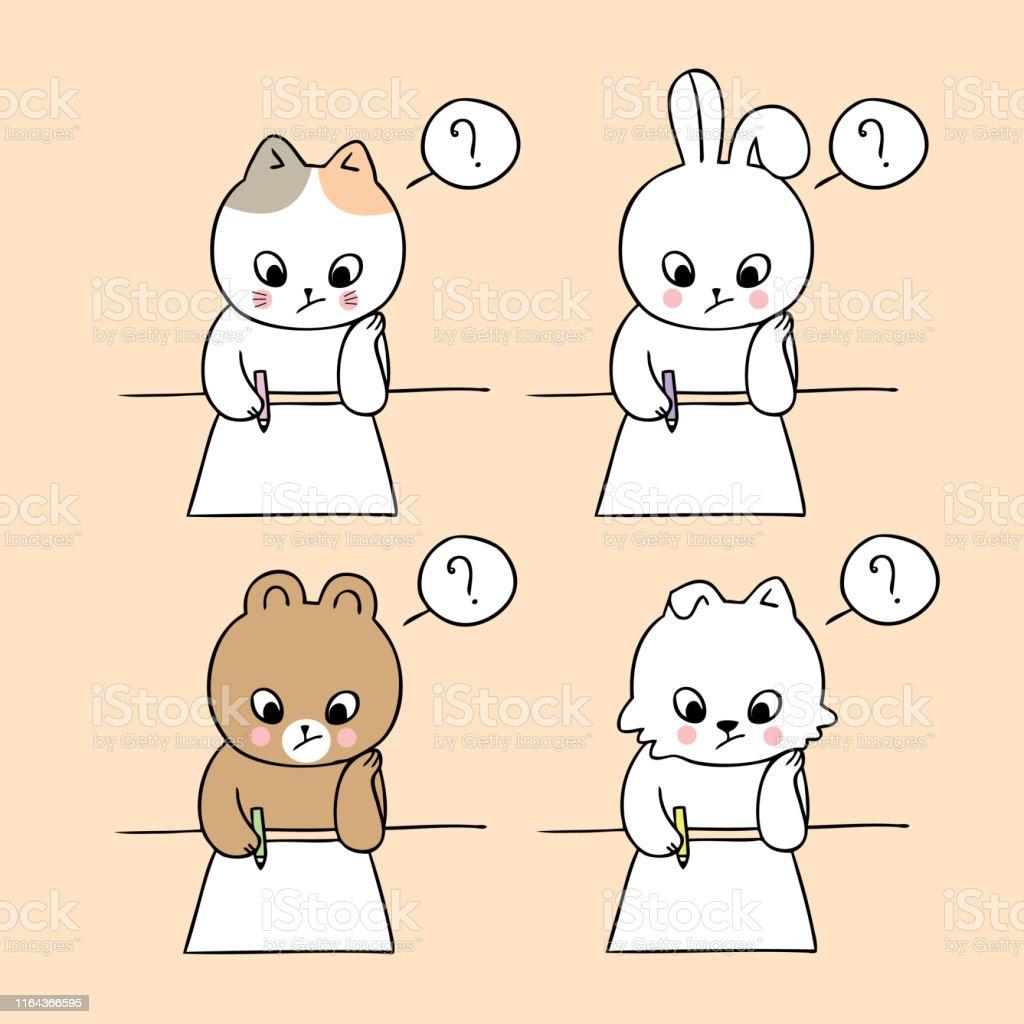 Cartoon cute back to school animals writing paper vector.