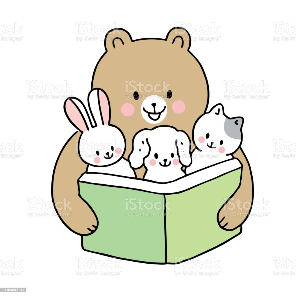 Cartoon cute back to school bear reading book and baby animals vector.