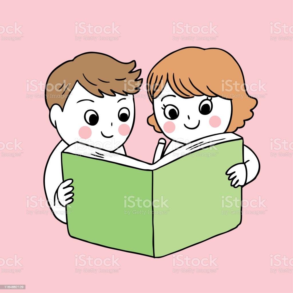 Cartoon cute back to school boy and girl reading book vector.
