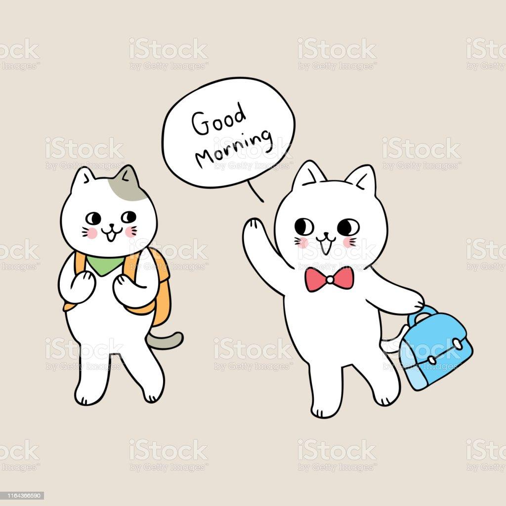 Cartoon Niedlich Zurück Zu Schule Katze Sagen Guten Morgen