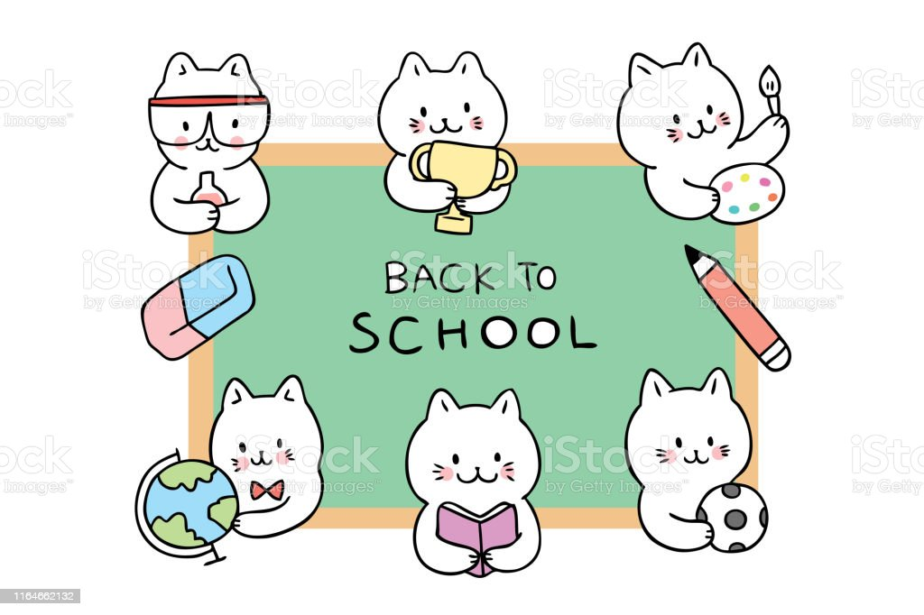 Cartoon cute back to school cats in classroom vector.