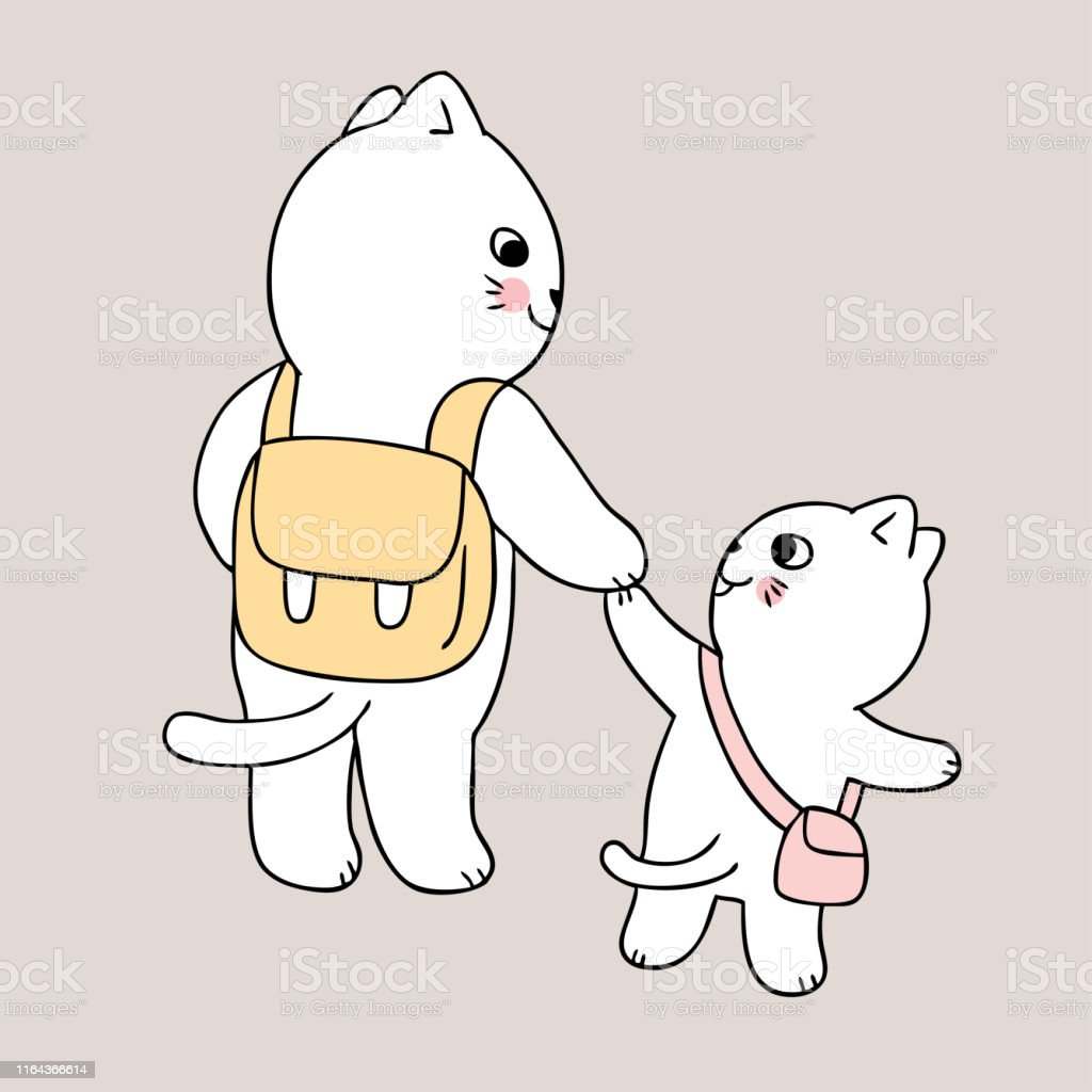 Cartoon cute back to school mother and cat go to school vector.