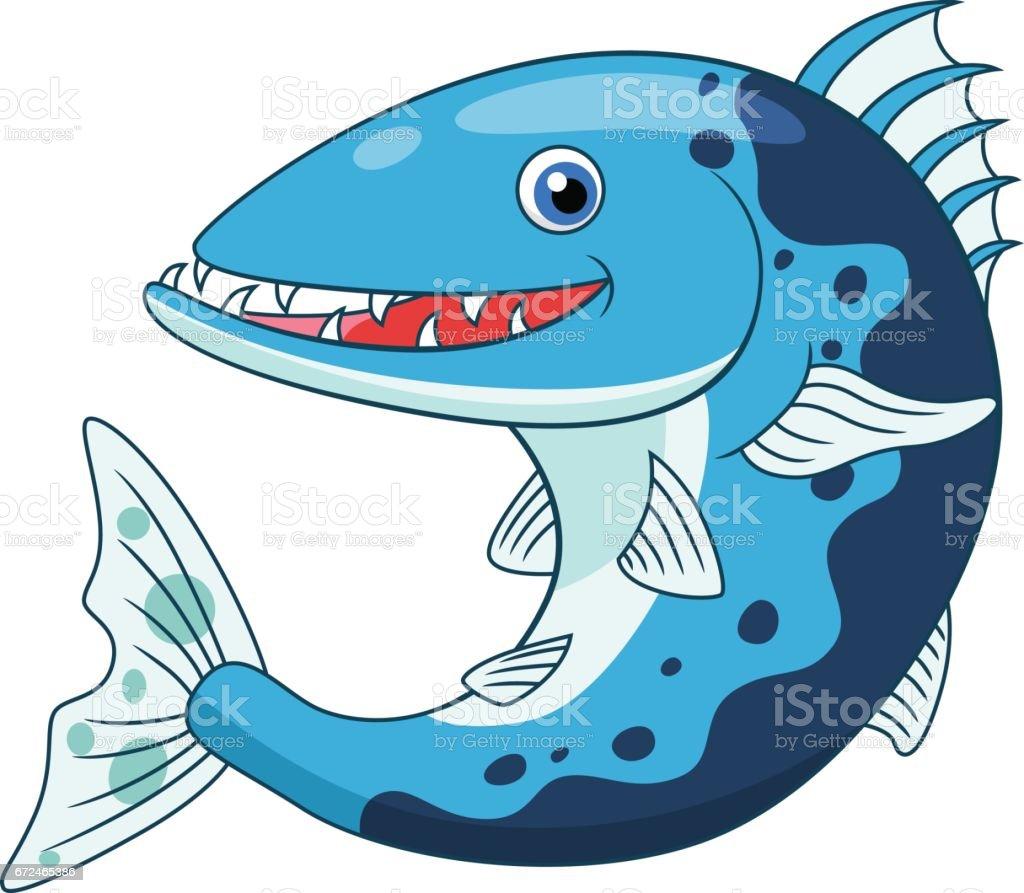 Cartoon cute barracuda vector art illustration