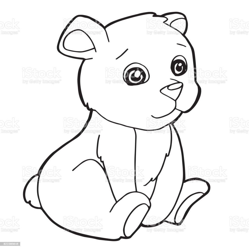 Vetores De Urso Bonito Dos Desenhos Animados Colorir Ilustracao