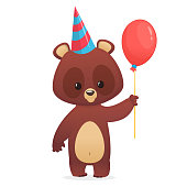 Cartoon cute bear holding a red balloon. Vector illustration. Design for party decoration or print