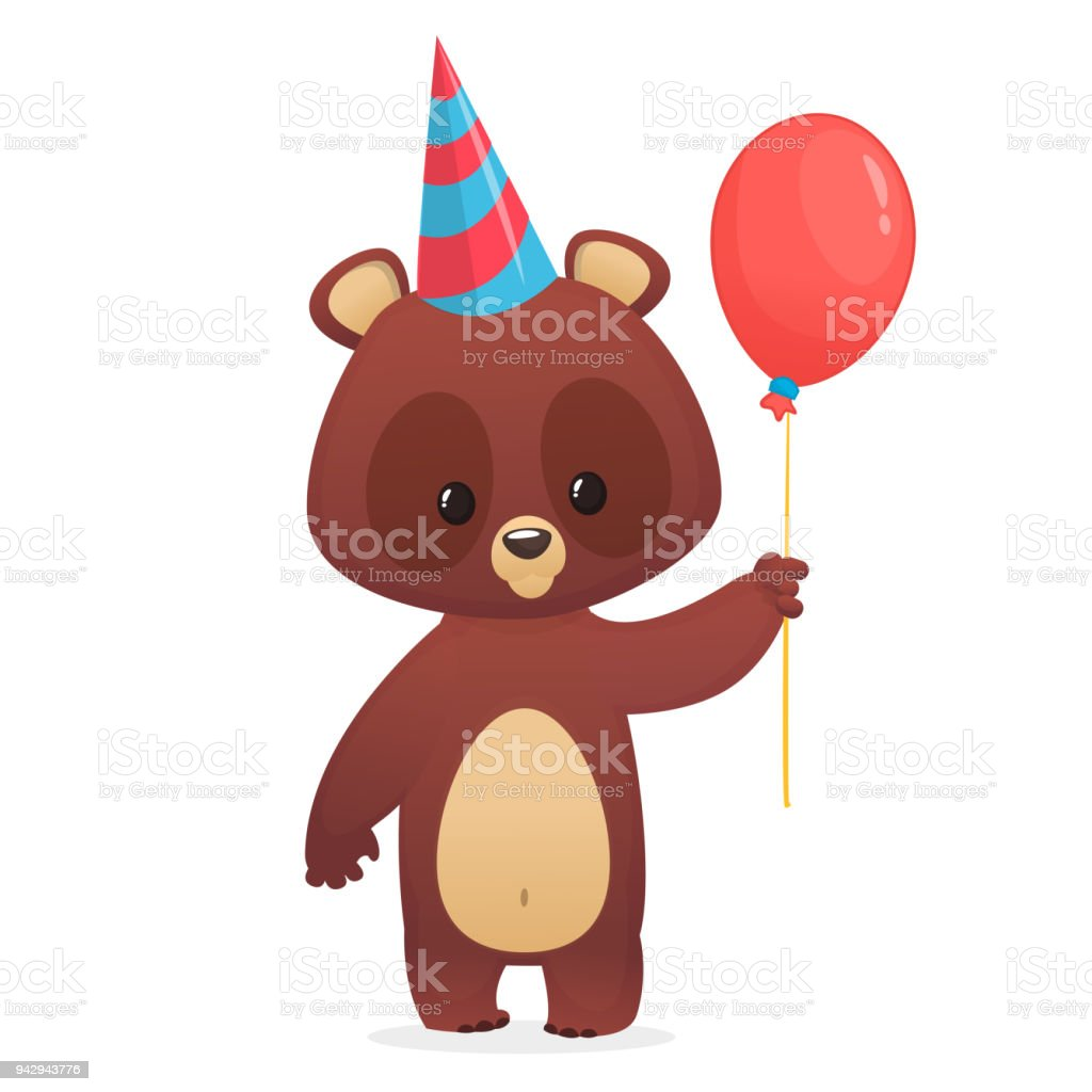 Cartoon cute bear holding a red balloon. Vector illustration. Design for party decoration or print vector art illustration