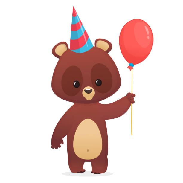 Cartoon niedliche Bären halten einen roten Ballon. Vektor-Illustration. Design für Party Dekoration oder drucken – Vektorgrafik