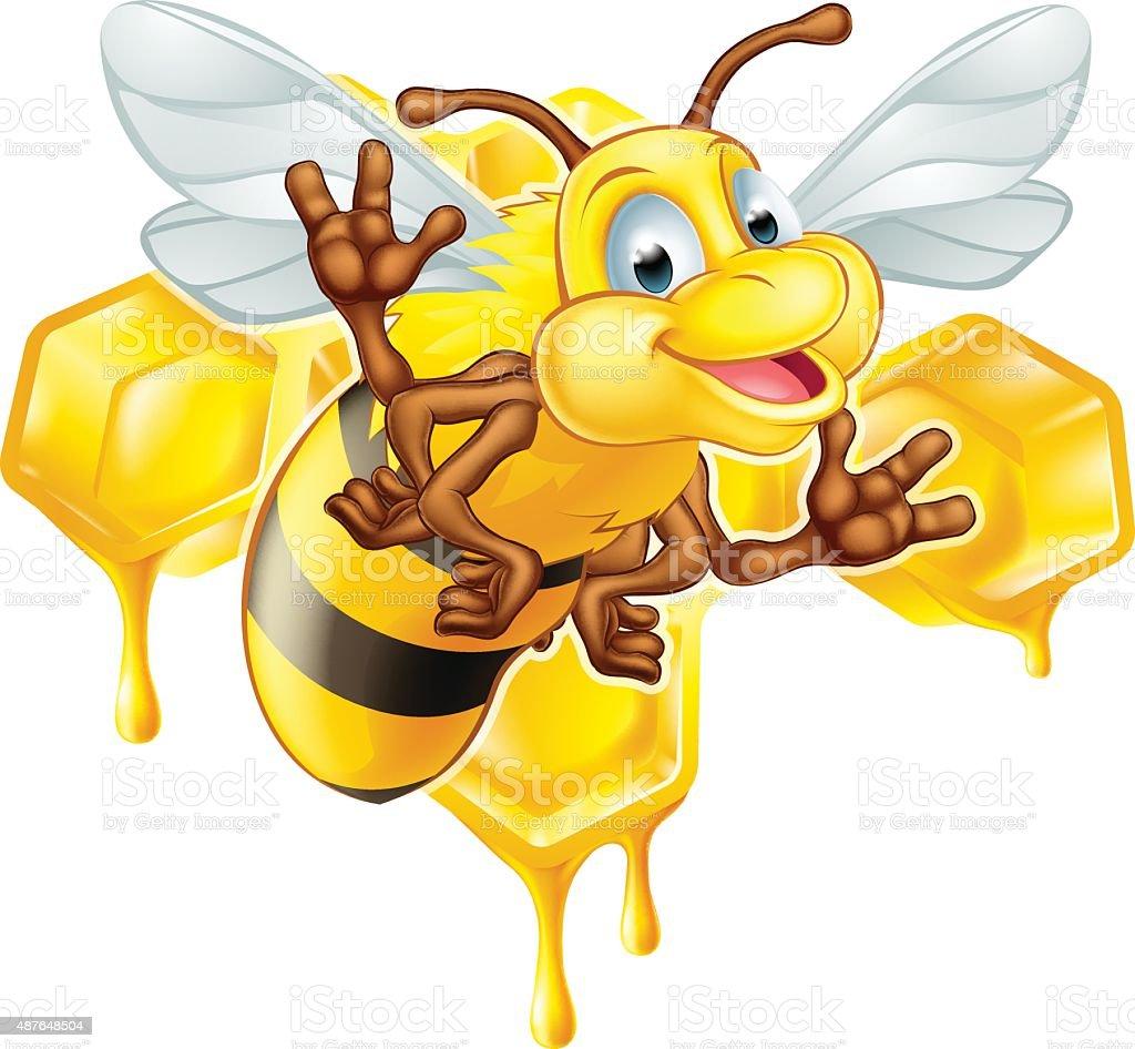 Cartoon cute bee and honey vector art illustration