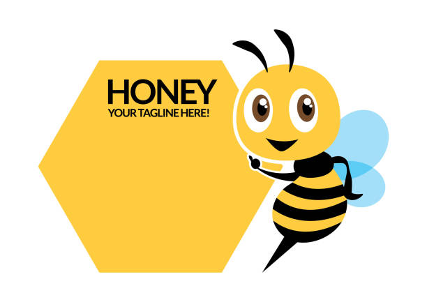 cartoon cute bee character, flat vector mascot, pointing signboard - flat vector - food delivery stock illustrations