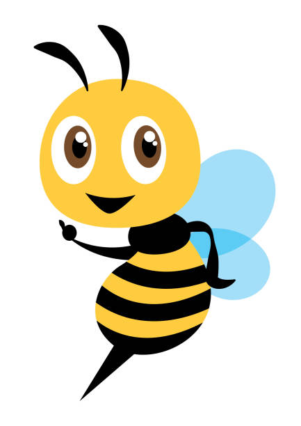 cartoon cute bee character pointing hand - flat art vector mascot character - food delivery stock illustrations