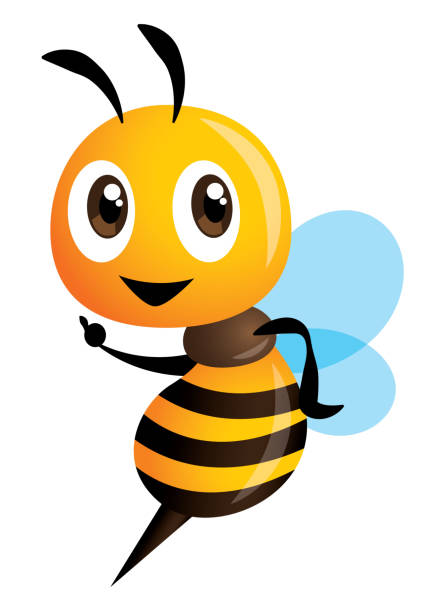 cartoon cute bee pointing. vector - food delivery stock illustrations