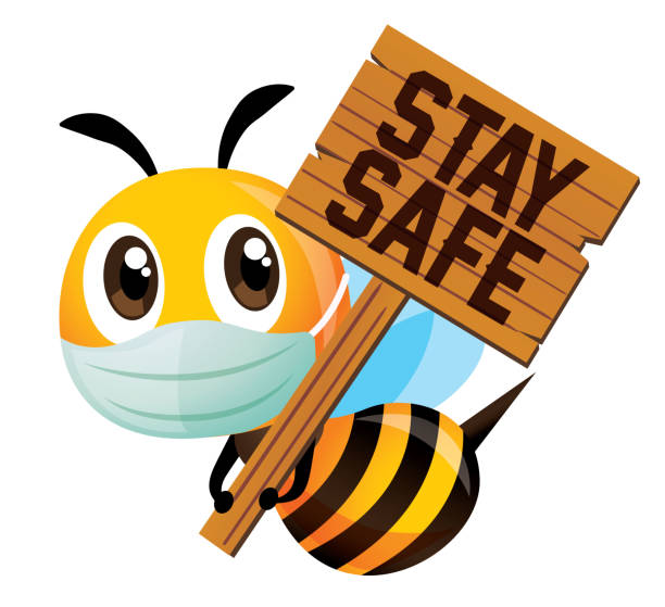cartoon cute bee wearing protective mask and holding a big wooden signboard with stay safe wording - vector mascot isolated - food delivery stock illustrations