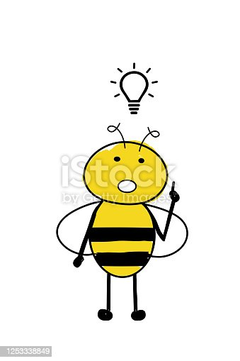 Cartoon cute bee with an idea that came to its head. Bee inspired with a light bulb above
