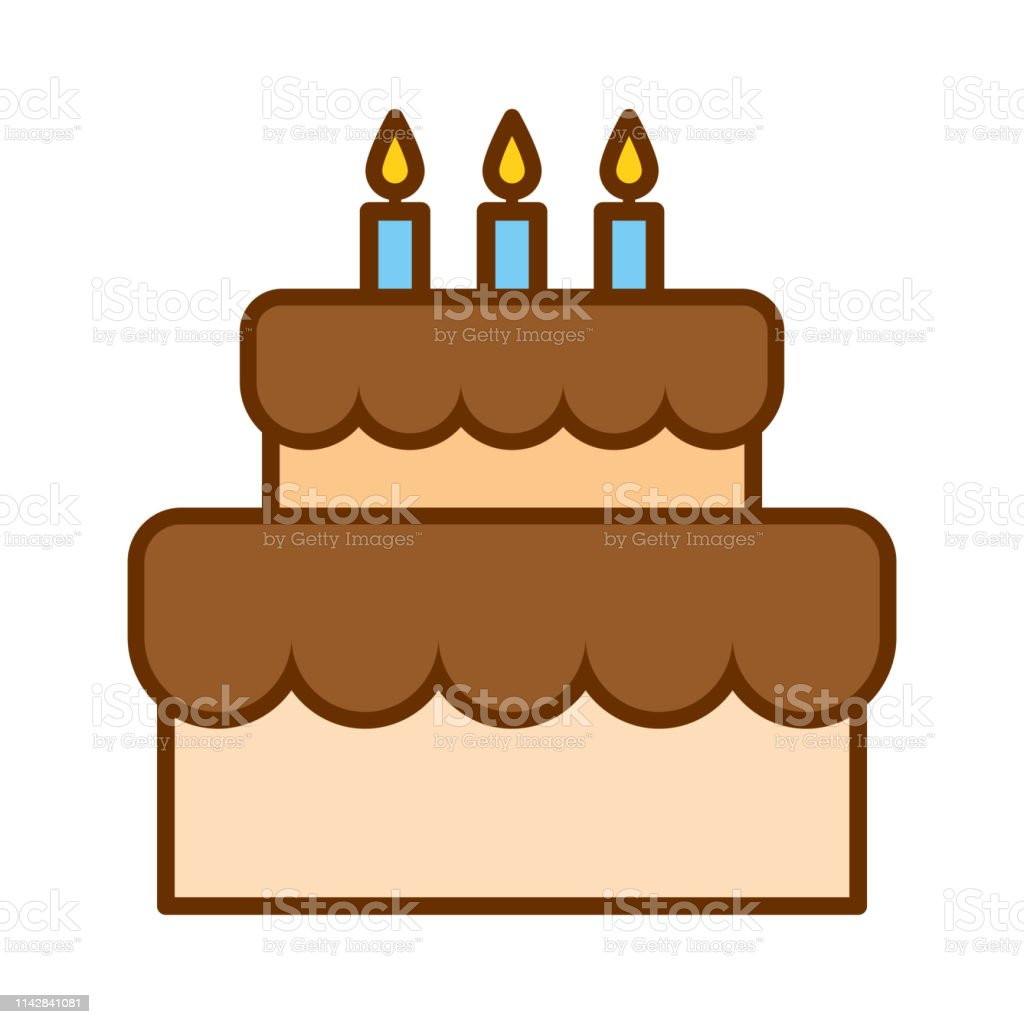 Awesome Cartoon Cute Birthday Cake Icon Isolated On White Background Stock Funny Birthday Cards Online Alyptdamsfinfo