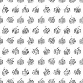 Cartoon cute cakes on white background. Simple seamless pattern. Linear coloring illustration.