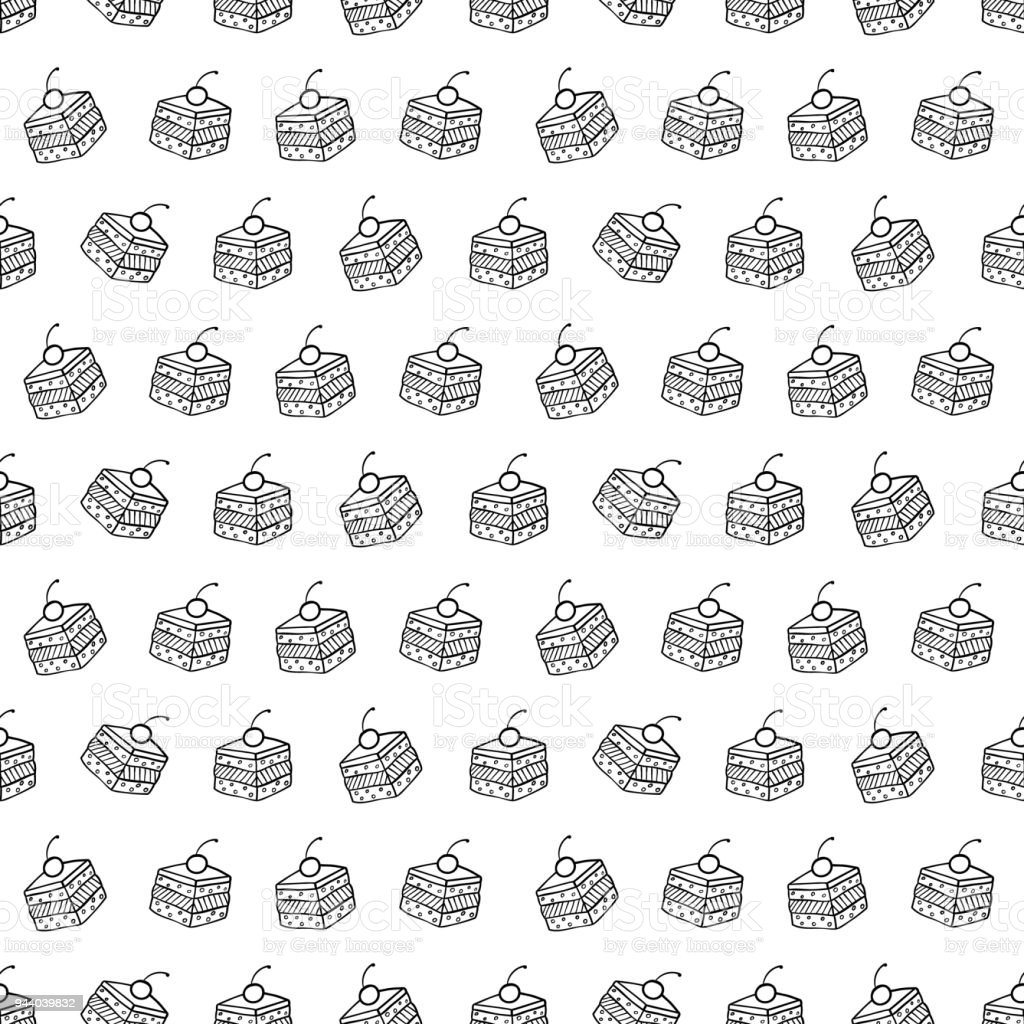 Cartoon cute cakes on white background. Simple seamless pattern. Linear coloring illustration. vector art illustration