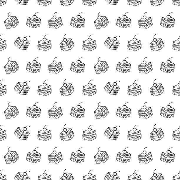 bildbanksillustrationer, clip art samt tecknat material och ikoner med cartoon söta kakor på vit bakgrund. enkel smidig mönster. linjär färg illustration. - brownie