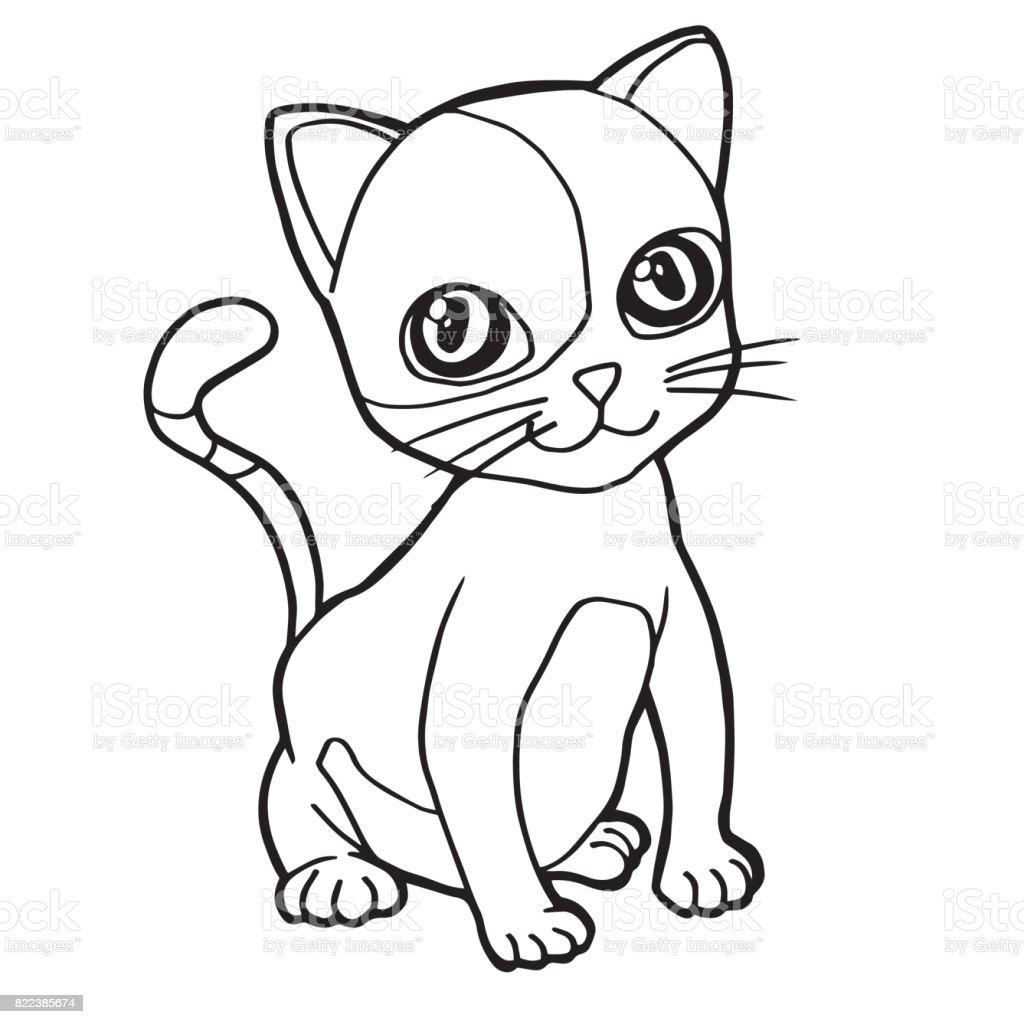 Ilustración De Lindo Gato De Dibujos Animados Para Colorear