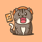 istock Cartoon Cute Cat Listening to Music 1314309829