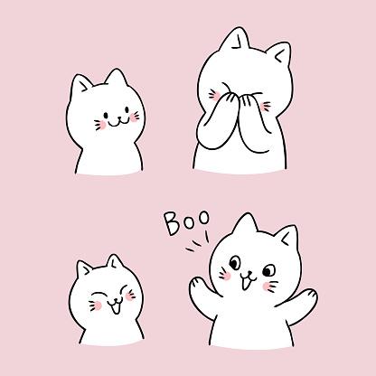 Cartoon cute cat peek a boo vector.
