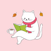 Cartoon cute cat reading book and coffee cup vector.