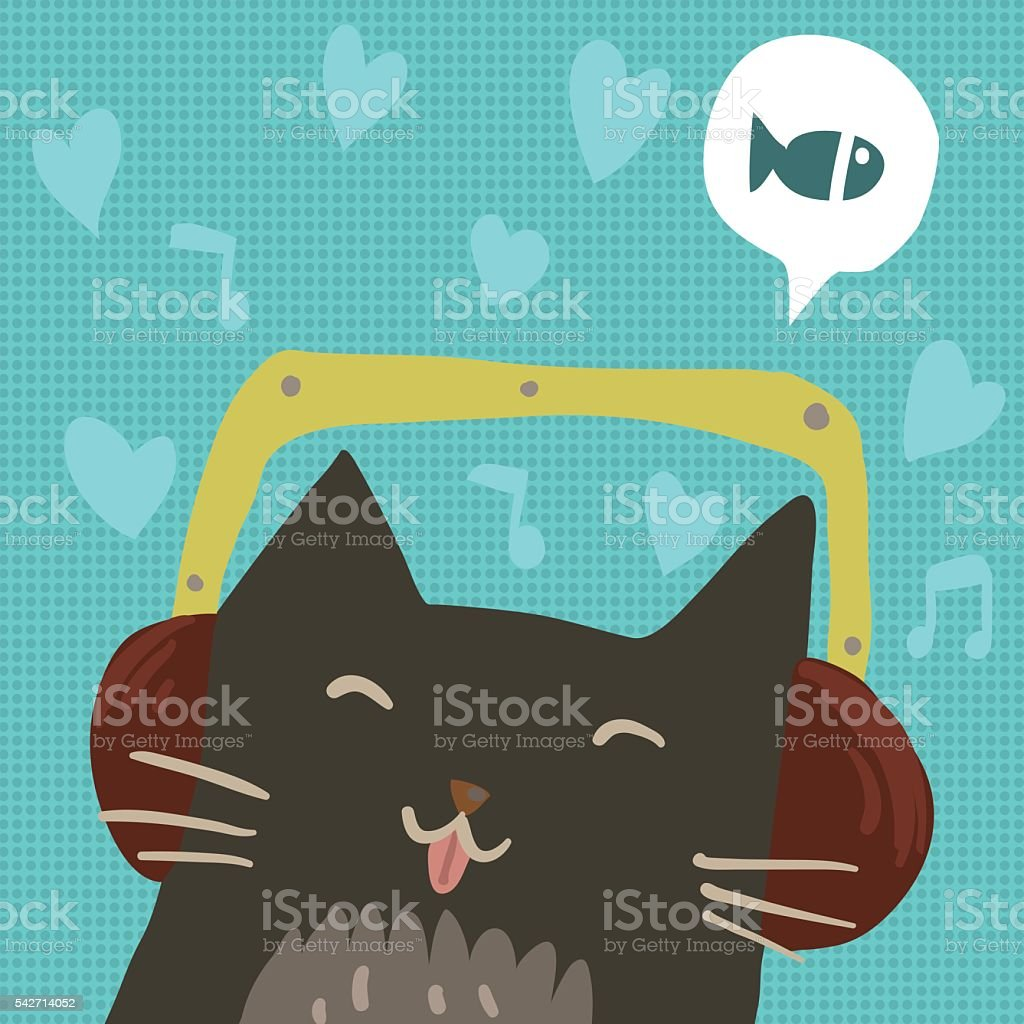 Cartoon cute cat with headphones flat mascot. vector art illustration