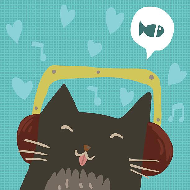 Cartoon cute cat with headphones flat mascot. vector art illustration