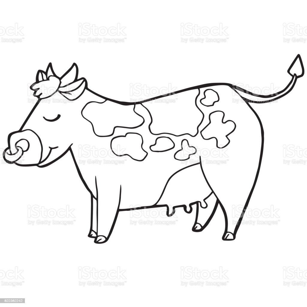 Ilustración De Dibujos Animados Lindo Ganado O Una Vaca Para